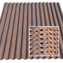 perforated painted rusted roofing